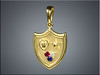 18K Pendant with Purple Heart and Star and a ruby, diamond and sapphire.  Designed and made by Ron Litolff.