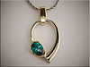 14K two tone mounting for pear shaped chrome tourmaline by Tim Frank