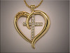 Custom 2 tone pendant with free form heart and diamond cross, by Ron Litolff