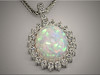 14K white gold ideal cut diamond mounting for exquisite oval shaped opal.  Designed and made by Ron Litolff
