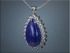 14K white gold custom pendant for customers pear shaped tanzanite, outlined with 22 white topaz stones.  Designed and made by Ron Litolff