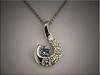 White gold swirl design for customers diamond remount pendant, by Ron Litolff