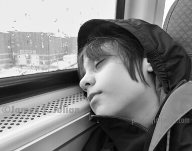 Asleep on the Train BW