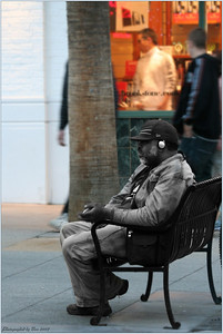 A homeless person on third street Promenade, Santa Monica