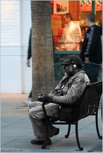 A homeless person on third street Promenade, Santa Monica