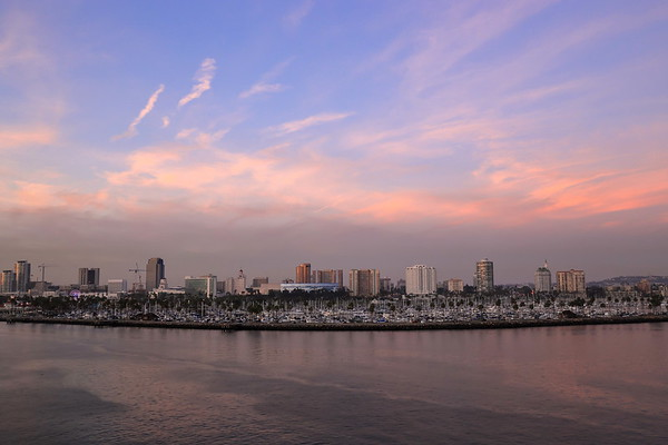A view of Long Beach marina, California from a cruise ship during a twilight