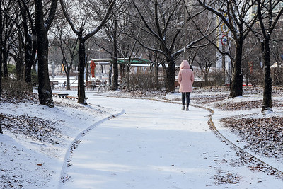 walking in snow at a park