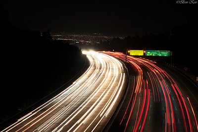 405 freeway at night facing north. Los Angeles, California