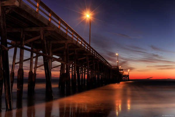 Newport beach pier after the sunset