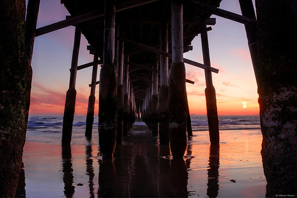 Sunset at Newport beach pier