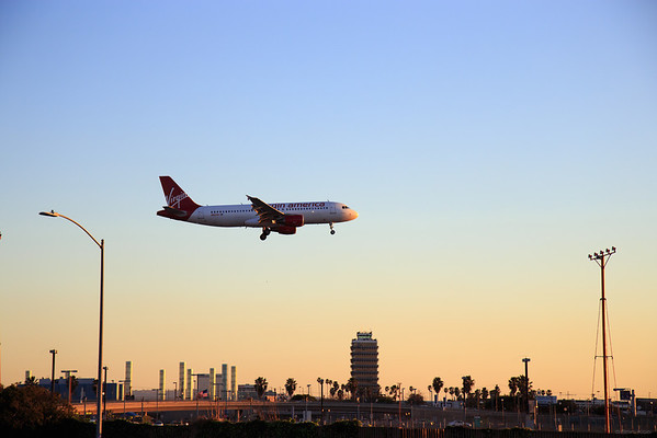 Virgin America Airliner landing at LAX