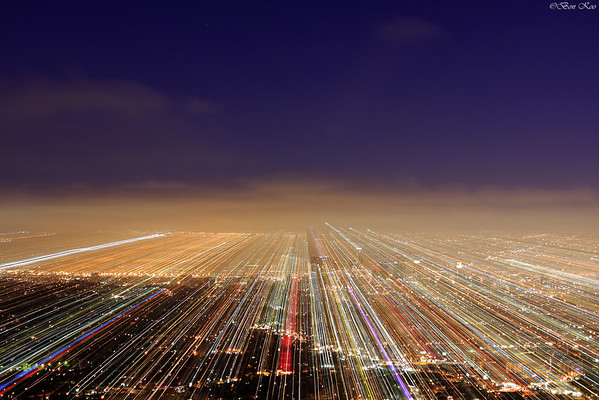 Played with zoom lens on a shot of LA downtown.