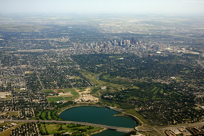 Arriving at Calgary. The aerial view of Calgary.