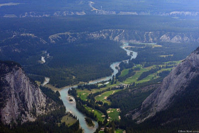 A view of Bow river and a golf course from Sulphur Moutain