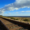 Railway along the coast of Santa Barbara, California