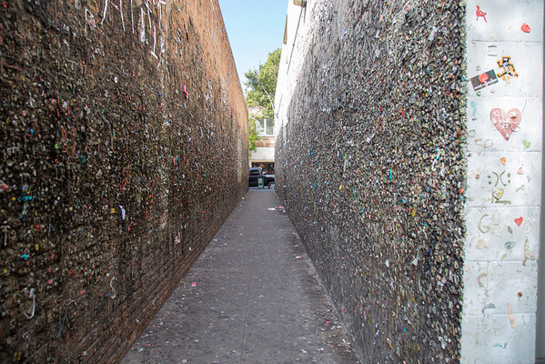 Bubble gum alley, San luis obispo, California.<br /> Yes, they are all gums on the wall.