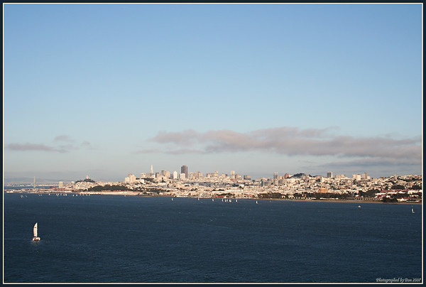 View of San Francisco from Golden Gate bridge