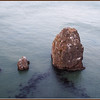 Three rocks interestingly lined up next to Golen Gate bridge
