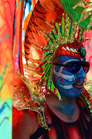 Colorful face and make up on Dragon Man