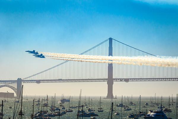 Blue Angels Diamond Formation passing the Golden Gate Bridge