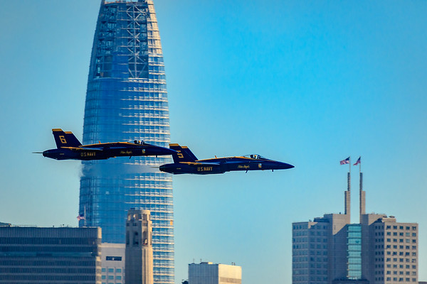 Blue Angel Solo Planes 5 & 6 passing in front of the new Salesforce Tower