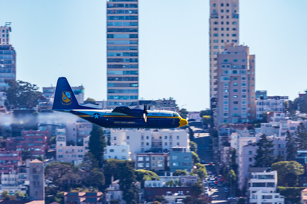 Fat Albert passing in front of San Francisco