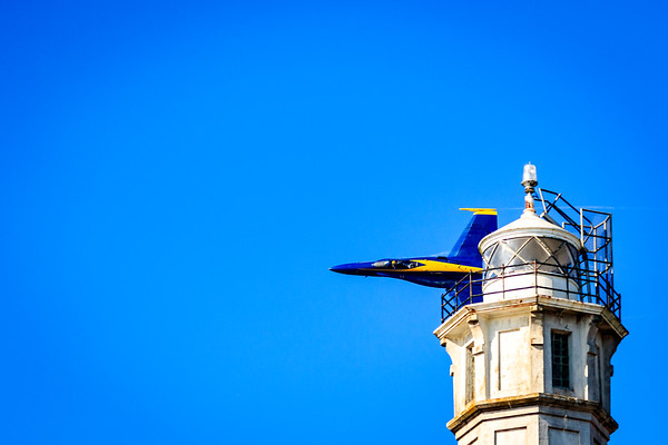 Blue Angel behind Alcatraz Lighthouse Tower