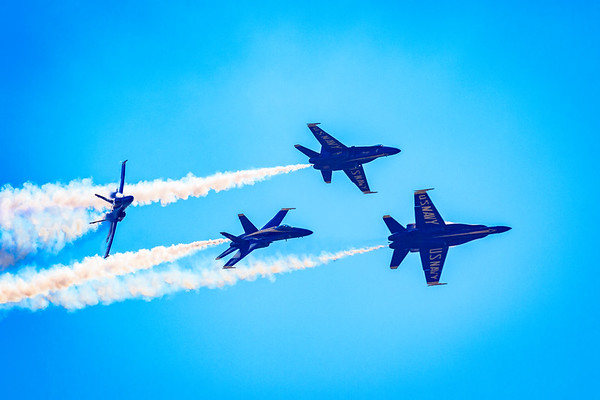 Blue Angels breaking their Diamond Formation