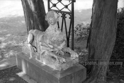 Lion Lady Statue BW