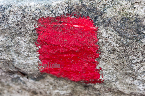 Trail Marker Painted on a Boulder