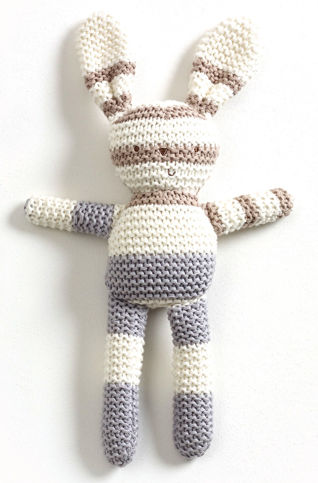 Striped Knitted Bunny (Grey)