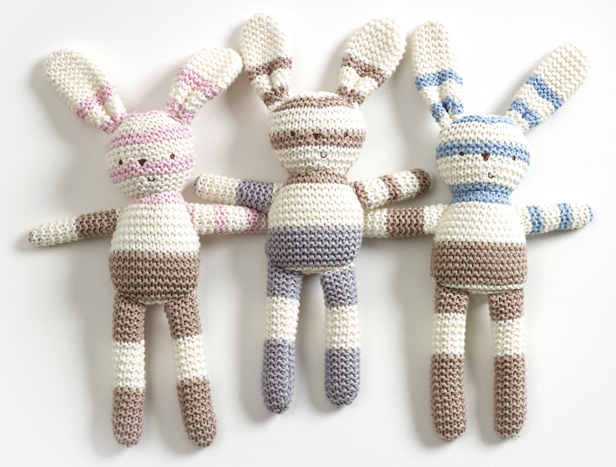 Striped Knitted Bunnies (Blue, Grey & Pink)