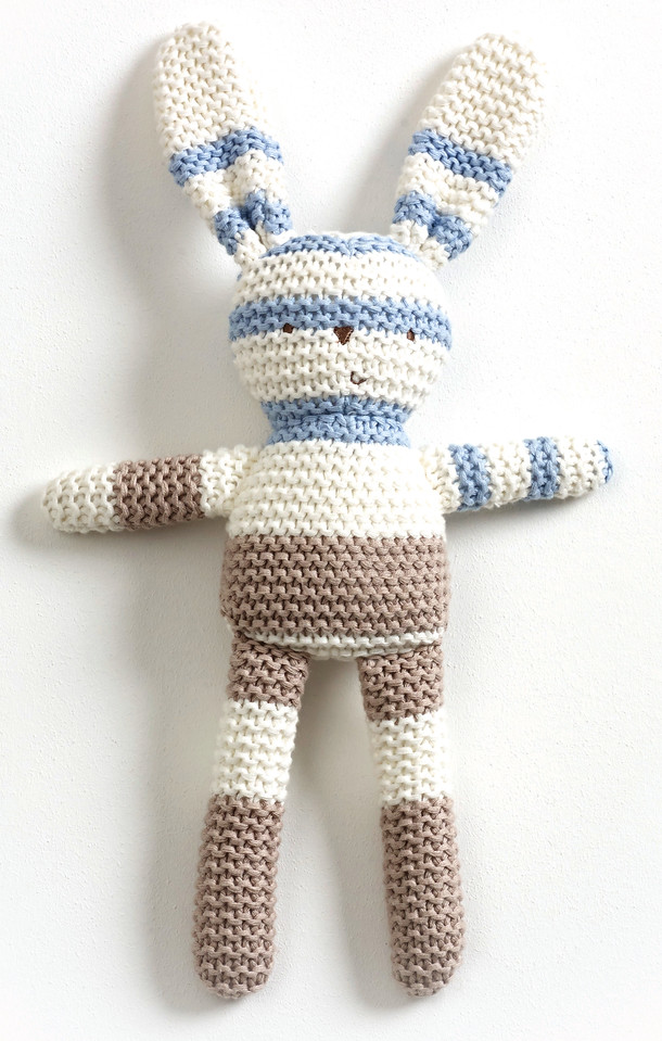 Striped Knitted Bunny (Blue)
