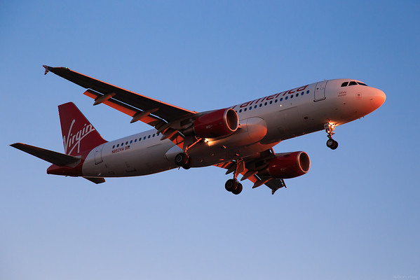 Virgin America airliner approaching at LAX.