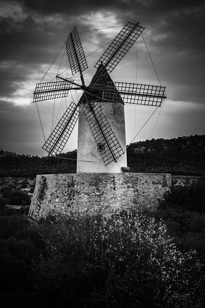Windmill and bench