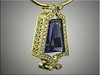 14K green gold custom pendant designed for cusomers tanzanite.  Set with ideal cut diamonds.  Designed and made by Ron Litolff.