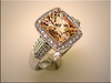 14K white gold mounting for beautiful peach morganite which was made in rose gold Designed and made by Tim Frank