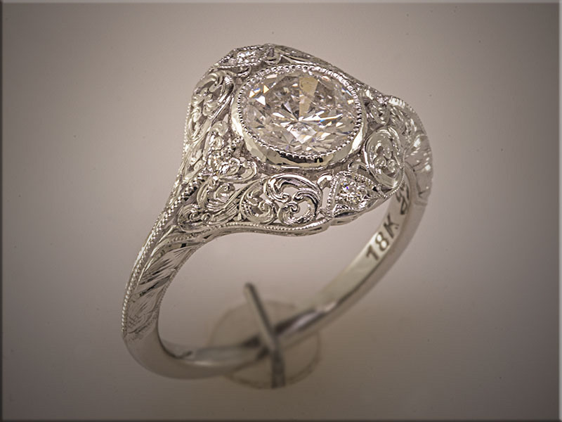 18K white gold custom filigree style ring with cutout and handengraved scroll pattern by Ron Litolff