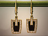 14K yellow gold custom diamond and onyx earrings by Ron Litolff