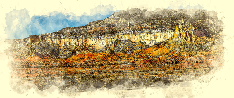 Ghost Ranch Hills Watercolor