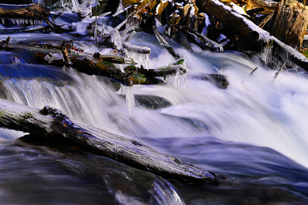 flowing water and ice