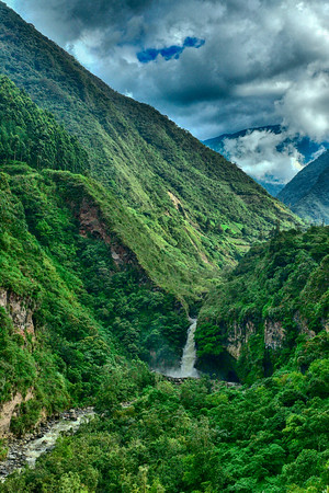 Vertical of Valley and waterfall in Banos