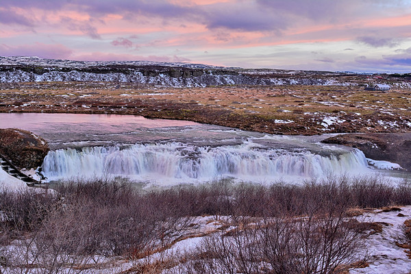 Wide Waterfall at sunset