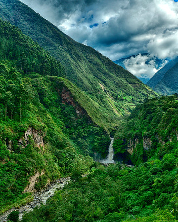 Vertical of Valley and waterfall in Banos2