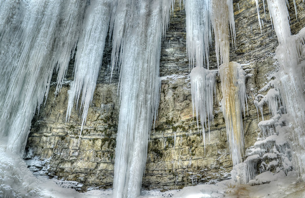 Ice on waterfalls HDR