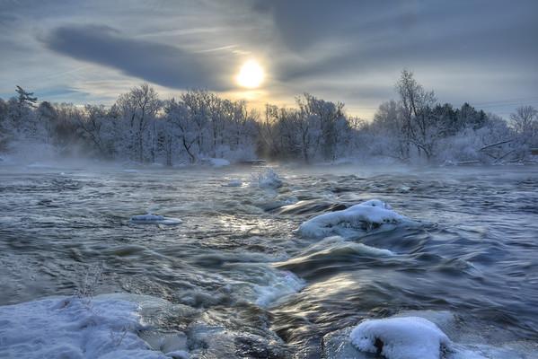Sunrise over rapids