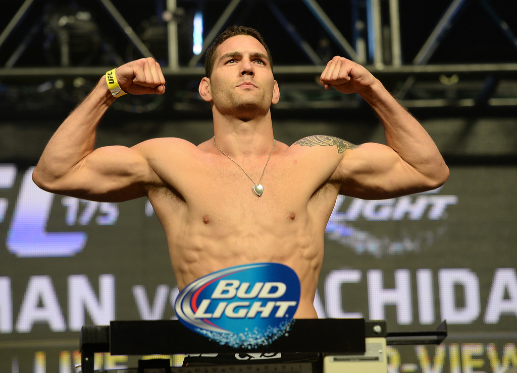 . UFC Middleweight champion Chris Weidman during weigh-ins for UFC 175 at the Mandalay Bay Events Center July 4, 2014. (Photo by Hans Gutknecht/Los Angeles Daily News)
