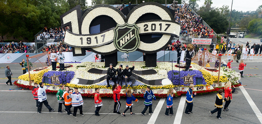 . The National Hockey League float during the Rose Parade on Colorado Blvd. in Pasadena, Calif. on Monday,  January 2, 2017.  (Photo by Leo Jarzomb/Pasadena Star News/SCNG)