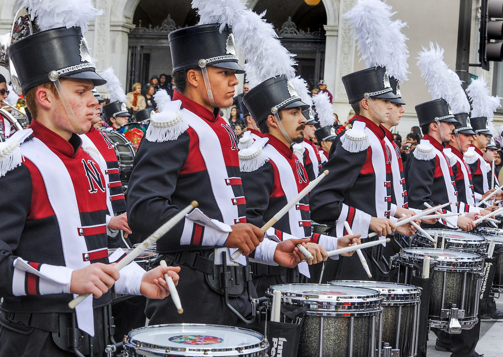 """. Niceville High School Eagle Pride, from Niceville, Florida marching in the 128th Rose Parade \""""Echoes of Success\"""". (Photo by Walt Mancini/SCNG)"""