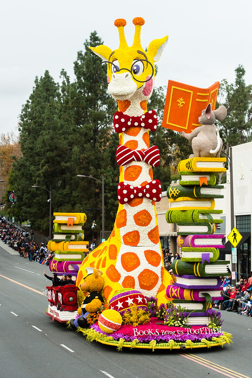 . The UPS Store �Books Bring Us Together� float on Colorado Blvd. during the 2017 Rose Parade in Pasadena on Monday, January 2, 2017. (Photo by Watchara Phomicinda, San Gabriel Valley Tribune/ SCNG)